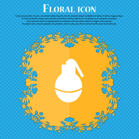 terrorist attack: Hand Grenade icon icon. Floral flat design on a blue abstract background with place for your text. Vector illustration