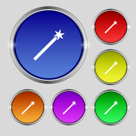 Magic Wand Icon sign. Round symbol on bright colourful buttons. Vector illustration