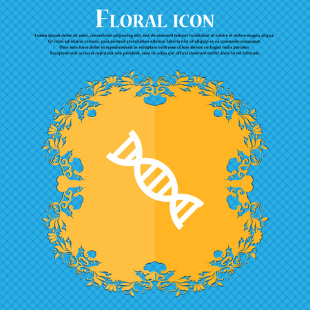 DNA icon icon. Floral flat design on a blue abstract background with place for your text. Vector illustration Illustration