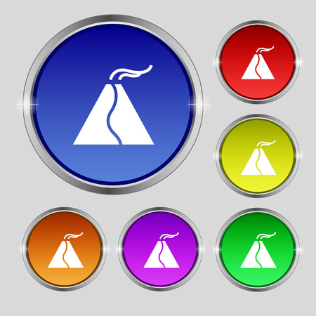 powerful volcano: active erupting volcano icon sign. Round symbol on bright colourful buttons. Vector illustration Illustration