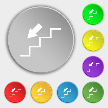 descent: descent down icon sign. Symbol on eight flat buttons. Vector illustration