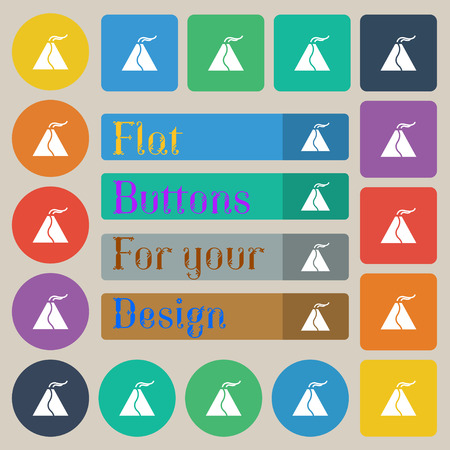 powerful volcano: active erupting volcano icon sign. Set of twenty colored flat, round, square and rectangular buttons. Vector illustration Illustration