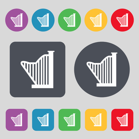 sonata: Harp icon sign. A set of 12 colored buttons. Flat design. Vector illustration