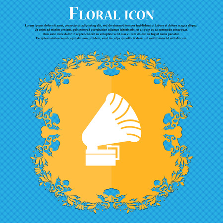gramaphone: Gramophone icon. icon. Floral flat design on a blue abstract background with place for your text. Vector illustration