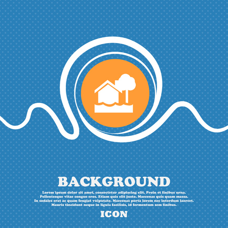 flooding home icon sign. Blue and white abstract background flecked with space for text and your design. Vector illustration Illustration