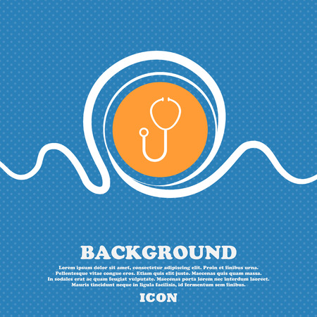 Stethoscope Icon sign. Blue and white abstract background flecked with space for text and your design. Vector illustration