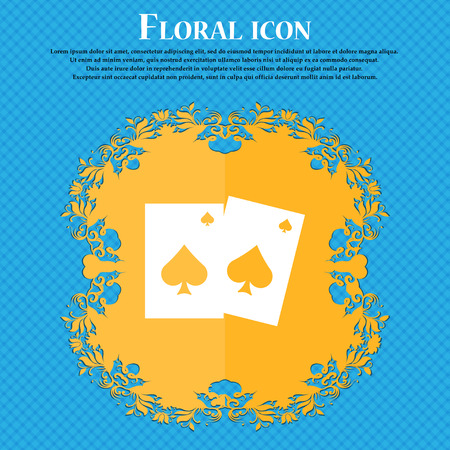 preference: game cards icon icon. Floral flat design on a blue abstract background with place for your text. Vector illustration