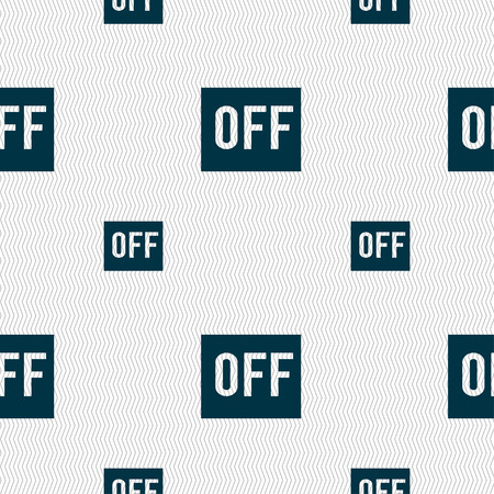 shutdown shut down: OFF icon sign. Seamless pattern with geometric texture. Vector illustration