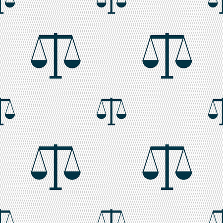Scales of Justice icon sign. Seamless pattern with geometric texture. Vector illustration Illusztráció
