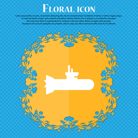 submarine icon icon. Floral flat design on a blue abstract background with place for your text. Vector illustration