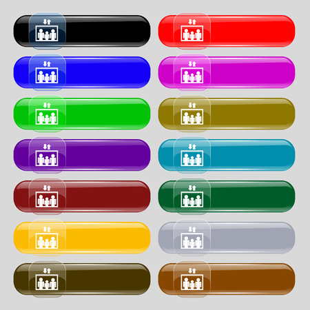 lowering: Elevator symbol sign. Set from fourteen multi-colored glass buttons with place for text. Vector illustration