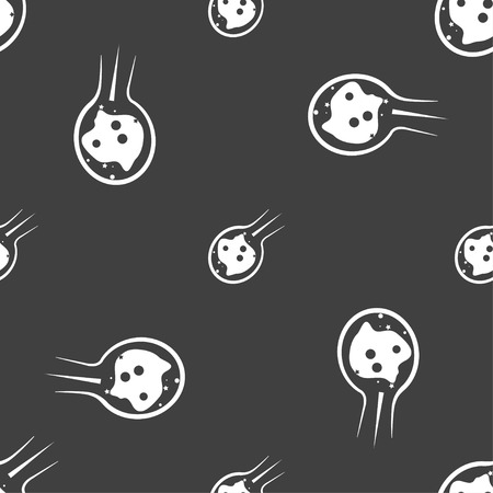 meteor crater: Flame meteorite icon sign. Seamless pattern on a gray background. Vector illustration Illustration