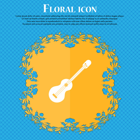 acoustic guitar icon icon. Floral flat design on a blue abstract background with place for your text. Vector illustration Illustration