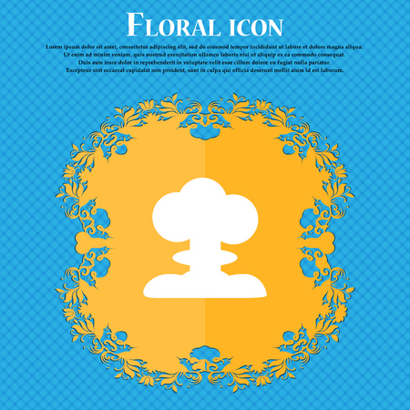 Explosion Icon icon. Floral flat design on a blue abstract background with place for your text. Vector illustration