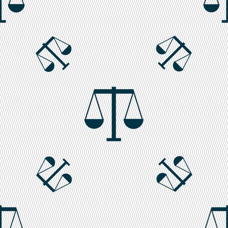 Scales of Justice icon sign. Seamless pattern with geometric texture. Vector illustration