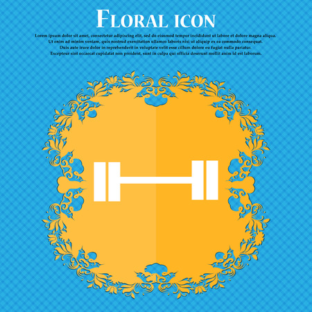 Dumbbell icon icon. Floral flat design on a blue abstract background with place for your text. Vector illustration Illustration