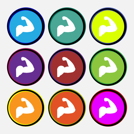 flexed: Biceps strong arm. Muscle icon sign. Nine multi colored round buttons. Vector illustration Illustration