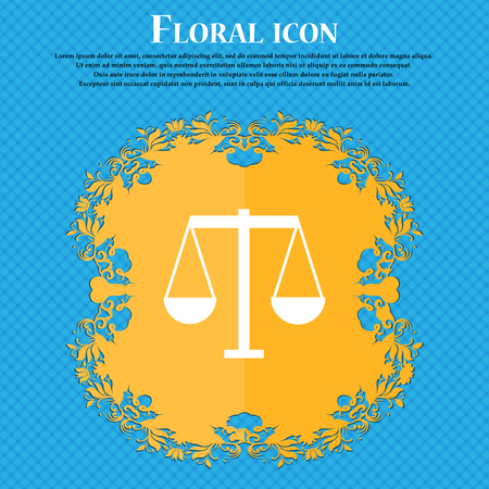 Scales of Justice icon icon. Floral flat design on a blue abstract background with place for your text. Vector illustration