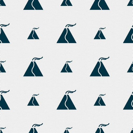 etna: active erupting volcano icon sign. Seamless pattern with geometric texture. Vector illustration Illustration