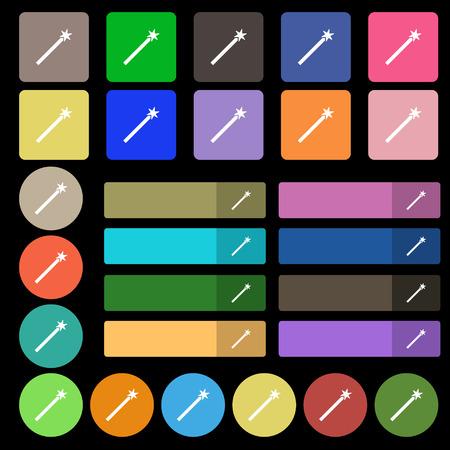 thaumaturge: Magic Wand Icon sign. Set from twenty seven multicolored flat buttons. Vector illustration