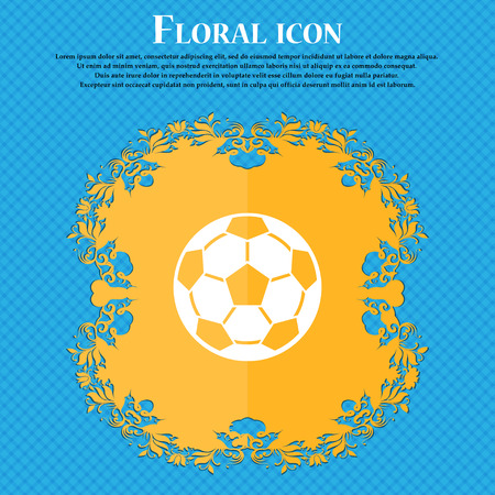 Football icon icon. Floral flat design on a blue abstract background with place for your text. Vector illustration