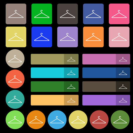 cloakroom: Clothes Hanger icon sign. Set from twenty seven multicolored flat buttons. Vector illustration Illustration