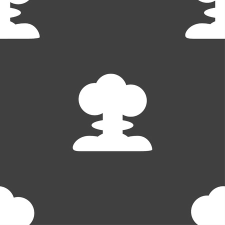chemical weapon sign: Explosion Icon sign. Seamless pattern on a gray background. Vector illustration