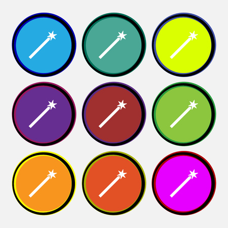 thaumaturge: Magic Wand Icon sign. Nine multi colored round buttons. Vector illustration