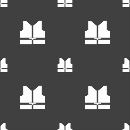 waistcoat: Working vest icon sign. Seamless pattern on a gray background. Vector illustration