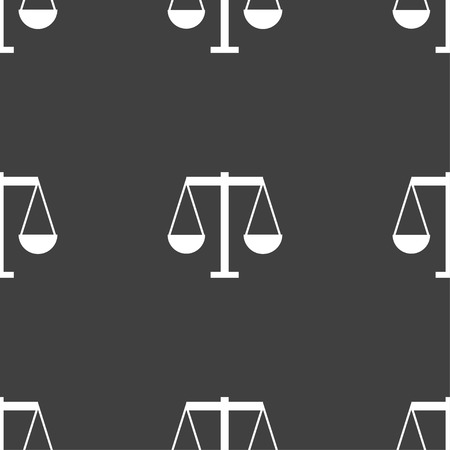 acquit: Scales of Justice icon sign. Seamless pattern on a gray background. Vector illustration Illustration