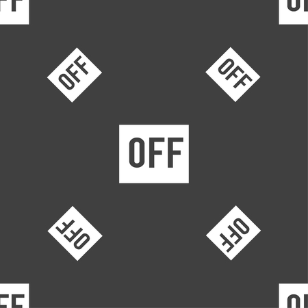 OFF icon sign. Seamless pattern on a gray background. Vector illustration