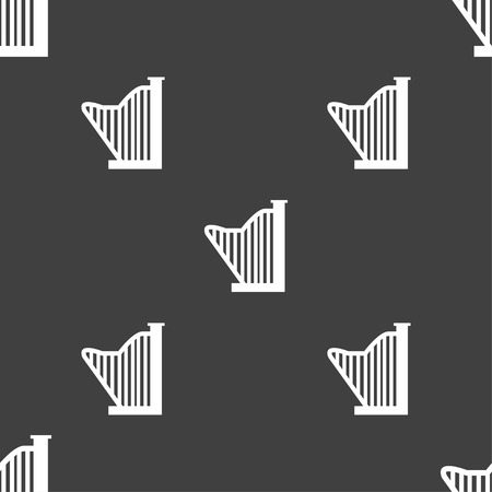 lyra: Harp icon sign. Seamless pattern on a gray background. Vector illustration