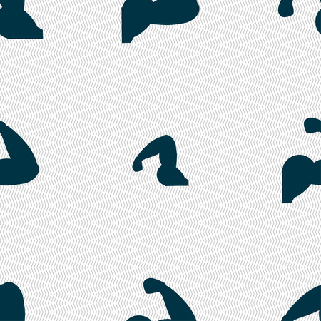 strong arm: Biceps strong arm. Muscle icon sign. Seamless pattern with geometric texture. Vector illustration