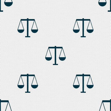 acquit: Scales of Justice icon sign. Seamless pattern with geometric texture. Vector illustration Illustration