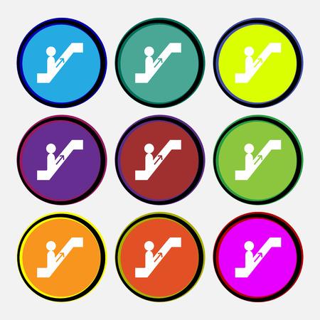 escalator icon sign. Nine multi colored round buttons. Vector illustration Illustration