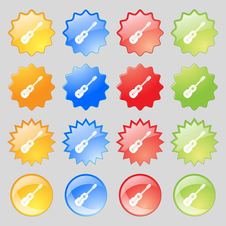 16: acoustic guitar icon sign. Big set of 16 colorful modern buttons for your design. Vector illustration