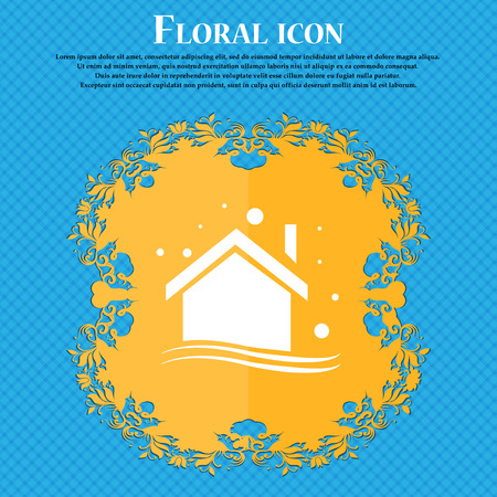 Winter house icon icon. Floral flat design on a blue abstract background with place for your text. Vector illustration