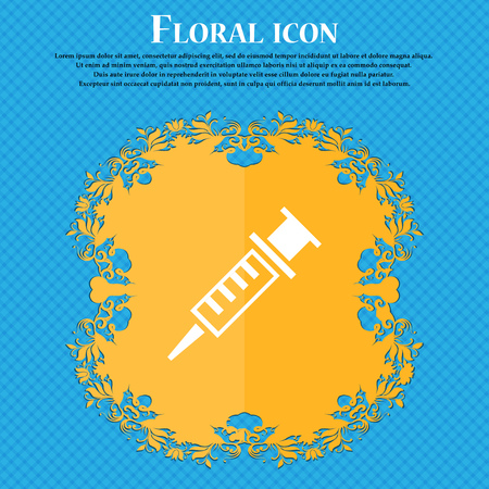 Syringe icon icon. Floral flat design on a blue abstract background with place for your text. Vector illustration Illustration