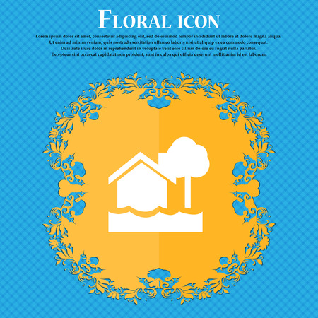 flooding home icon icon. Floral flat design on a blue abstract background with place for your text. Vector illustration Illustration