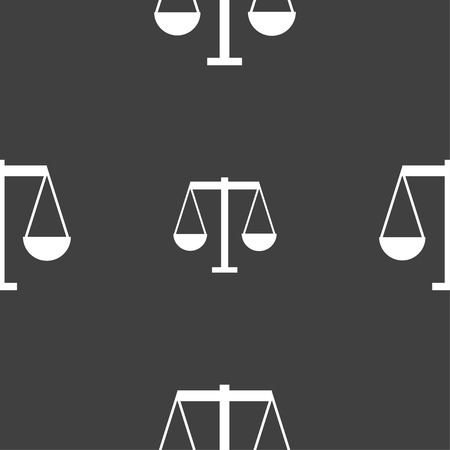 Scales of Justice icon sign. Seamless pattern on a gray background. Vector illustration