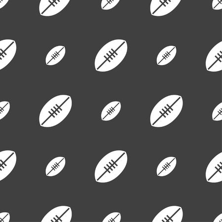 pigskin: American Football icon sign. Seamless pattern on a gray background. Vector illustration Illustration