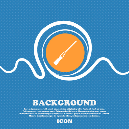 black powder pistol: Shotgun icon sign. Blue and white abstract background flecked with space for text and your design. Vector illustration Illustration