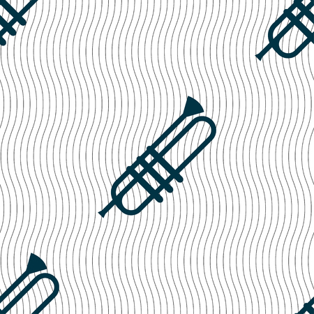 bugle: Trumpet icons sign. Seamless pattern with geometric texture. Vector illustration