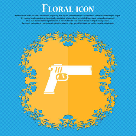 Gun icon icon. Floral flat design on a blue abstract background with place for your text. Vector illustration