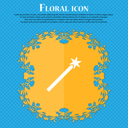 Magic Wand Icon icon. Floral flat design on a blue abstract background with place for your text. Vector illustration