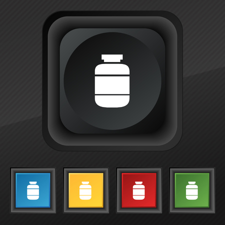 a substance vial: medication icon symbol. Set of five colorful, stylish buttons on black texture for your design. Vector illustration Illustration