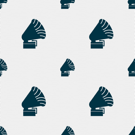 loudhailer: Gramophone icon. sign. Seamless pattern with geometric texture. Vector illustration