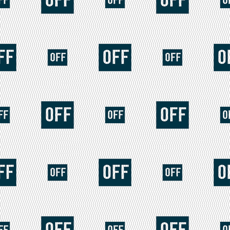 OFF icon sign. Seamless pattern with geometric texture. Vector illustration