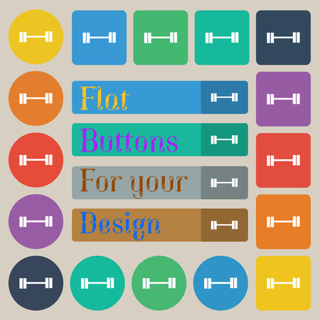 lifter: Dumbbell icon sign. Set of twenty colored flat, round, square and rectangular buttons. Vector illustration