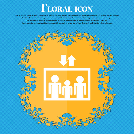 lowering: Elevator symbol icon. Floral flat design on a blue abstract background with place for your text. Vector illustration